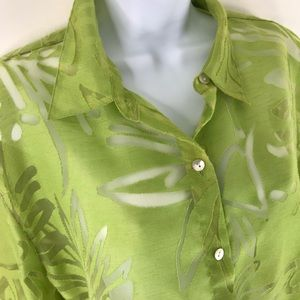 Chicos sheer green linen floral button up top